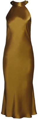 Galvan Sienna Satin Cropped Dress
