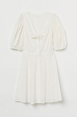 H&M Eyelet Embroidered Dress - White