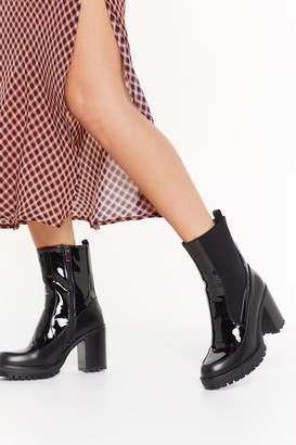 Nasty Gal Womens How High Patent Heeled Boots - Black