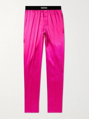 Tom Ford Velvet-Trimmed Stretch-Silk Satin Pyjama Trousers