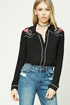 Forever 21 FOREVER 21+ Floral Embroidered Collar Shirt