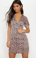 PrettyLittleThing Light Pink Leopard Print Button Front Shift Dress