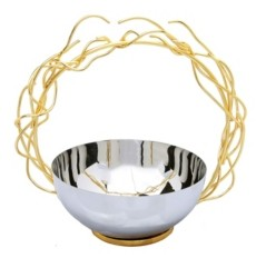 Classic Touch Stainless Steel Bowl with Round Gold-Tone Removable Twig Handle