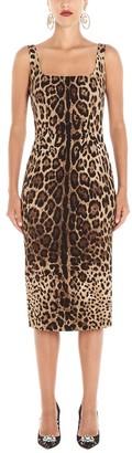 Dolce & Gabbana Fitted Animalier Print Midi Dress