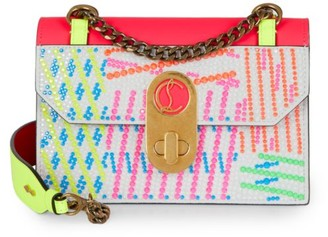 Christian Louboutin Small Elisa Crystal-Embellished Suede Shoulder Bag