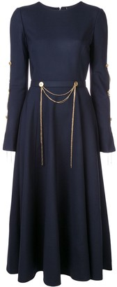 Oscar de la Renta Chain-Embroidered Cocktail Dress