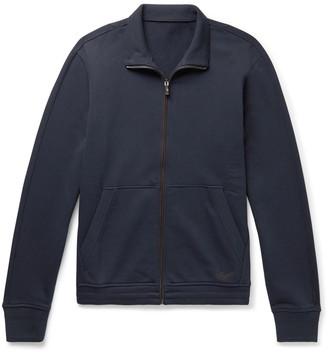 Ermenegildo Zegna Suede-Trimmed Loopback Cotton-Blend Jersey Zip-Up Sweatshirt