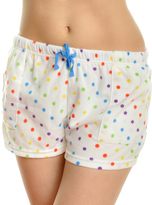 Angelina White & Rainbow Dot Side-Pocket Fleece Boxers