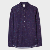 Paul Smith Men's Tailored-Fit Navy Pastel-Polka Dot Shirt