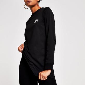 River Island Black long sleeve RR branded longline t-shirt