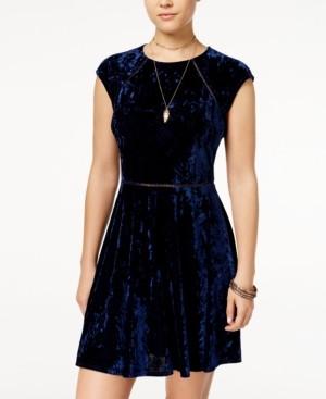 B. Darlin Juniors' Crushed Velvet Crochet Dress