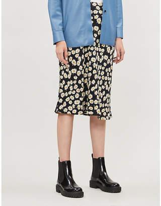 Rails Daisy-print crepe midi skirt