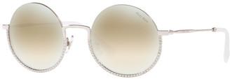 Miu Miu Semi-Rimless Crystal Studded Round Sunglasses