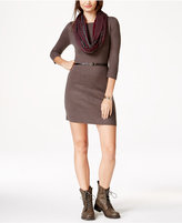 Amy Byer Juniors' Belted Sweater Dress with Scarf