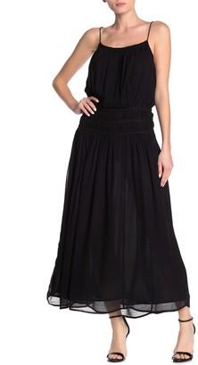 Frame Gathered Waist Woven Maxi Dress