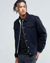 Asos Wool Mix Jacket In Navy With Fleece Lining