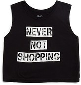 Flowers by Zoe Girls' Never Not Shopping Cropped Tee - Sizes S-XL
