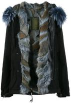 Mr & Mrs Italy - Mini Blue Raccoon Fur Lined Parka - women - Cotton/Lamb Skin/Polyester/Racoon Fur - XS