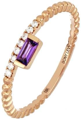 Bony Levy 18K Rose Gold Petite Amethyst & Diamond Ring