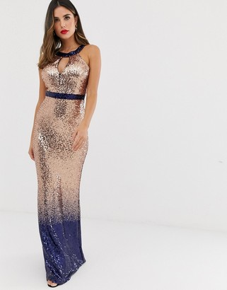 City Goddess halterneck sequin ombre maxi dress