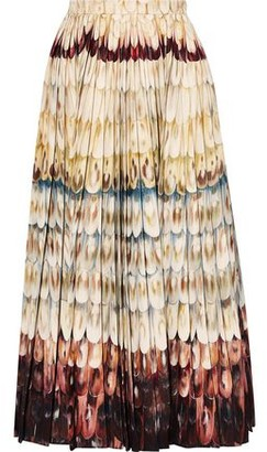 Valentino Pleated Printed Wool And Silk-blend Midi Skirt