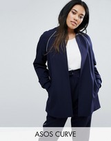 Asos Longline Bomber Jacket with Piping Co-Ord