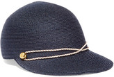 Eugenia Kim Joey Faux Leather-trimmed Woven Hemp Cap - Storm blue