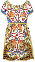 Dolce & Gabbana Maiolica Pleated Printed Cotton-poplin Dress - Yellow