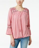 Style&Co. Style & Co Embroidered Peasant Top, Only at Macy's
