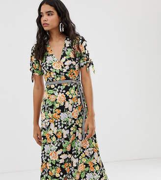 Miss Selfridge wrap midi tea dress with striped belt in floral-Black