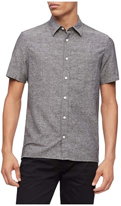 Calvin Klein Short Sleeve Linen Casual Button-Up Shirt (Black) Men's Clothing