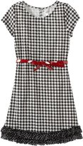 Sweet Heart Rose Girls 7-16 Short Sleeve Houndtooth Dress with Belt