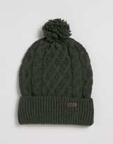 Barbour Wool Cable Knit Bobble Beanie In Olive