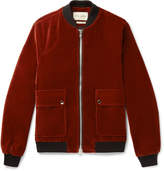 Oliver Spencer Bermondsey Cotton-velvet Bomber Jacket - Orange