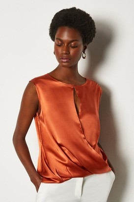 Karen Millen Silk Satin Sleeveless Wrap Blouse