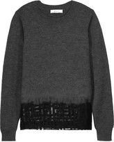 Milly Mesh-paneled wool sweater