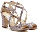 Jimmy Choo Carrie 85 Glitter Embellished Leather Sandals