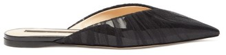 Midnight 00 Tulle-covered Patent-leather Backless Loafer - Black