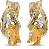 Direct-Jewelry 14k Gold Oval Citrine And Diamond Earrings