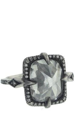 Cathy Waterman 8.55 Carat Silver Diamond Mysterious Lake Blackened Platinum Ring