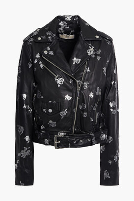 MICHAEL Michael Kors Metallic Floral-print Leather Biker Jacket