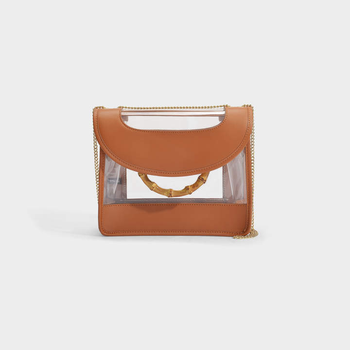 Loeffler Randall Marla Crossbody Square Bag With Chain In Brown Smooth Leather And Clear Pvc