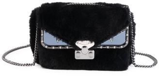 Fendi Small Bug Shearling & Leather Shoulder Bag