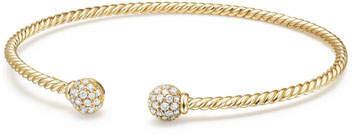 David Yurman 6mm Solari Pave Diamond Open Cuff Bracelet, Large