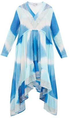Juliet Dunn Embroidered Tie-dye Cotton Kaftan - Blue Multi