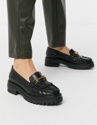 Asos DESIGN Milan premium chunky leather loafer in black