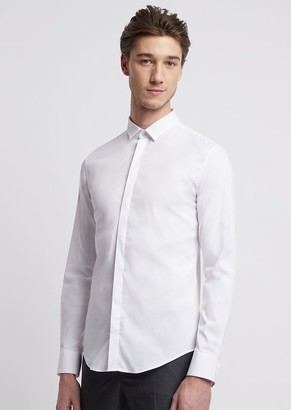Emporio Armani Shirt In Stretch Cotton With Small Collar And Hidden Closure