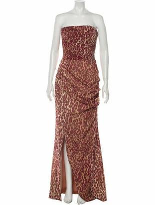 Rasario Animal Print Long Dress w/ Tags Red