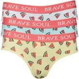 Brave Soul Womens Watermelon Print Three Pack Bikini Briefs White/Turq/Yellow