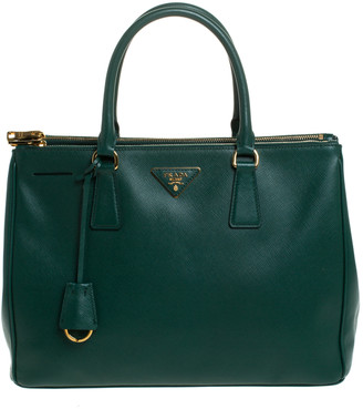 Prada Green Saffiano Lux Leather Medium Galleria Double Zip Tote
